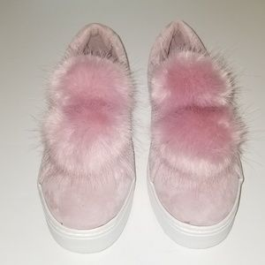 SAM EDELMAN PINK SUEDE LEATHER POMPOM TENNIS SHOES